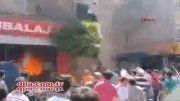 پرش زن باردار از ساختمان آتشگرفته در استانبول ترکیه