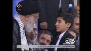 حضور سید طاها در محضر رهبر انقلاب و بوسه رهبر بر سر ایشان