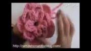 آموزش بافت شال گردن تزئینی طرح گل