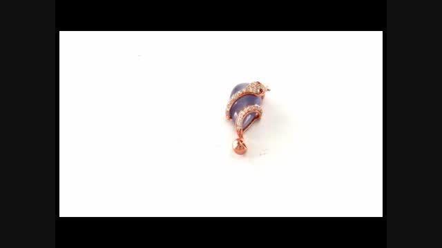 مدال چشم گربه بنفش طرح مار زنانه - کد 7006