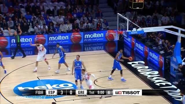 هایلایت مسابقه بسکتبال اسپانیا-یونان قهرمانی اروپا 2015