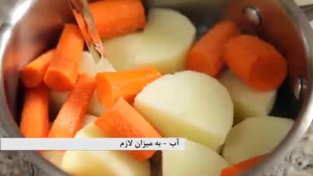 خوراک سیب زمینی و پنیر موزارلا