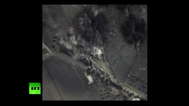 اولین ویدیو منتشر شده از حمله هوایی روسیه به سوریه