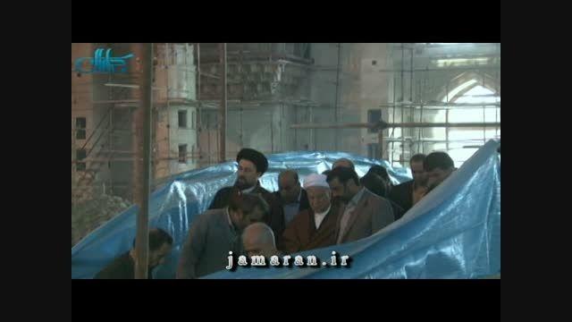 حضور آیت الله هاشمی در پروژه توسعه حرم مطهر امام (ره)