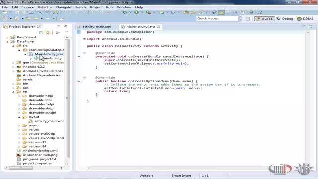 برنامه نویسی اندروید داتیس - ذخیره سازی اطلاعات در فایل... آموزش برنامه نویسی اندروید داتیس -آشنایی با Date Picker