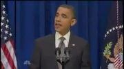 حرکت عجیب اوباما در هنگام سخنرانی