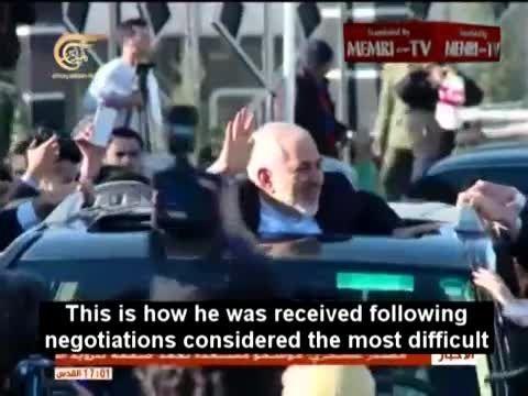 گزارش شبکه المیادین - استقبال از محمدجواد ظریف در ایران