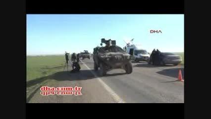 تردد خودروها و تانک های ترکیه در خاک سوریه