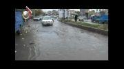 آبگرفتگی معابر پس از بارندگی در میدان امام شافعی کامیاران