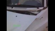 خودرویی که چپ شد ولی به خیر گذشت !