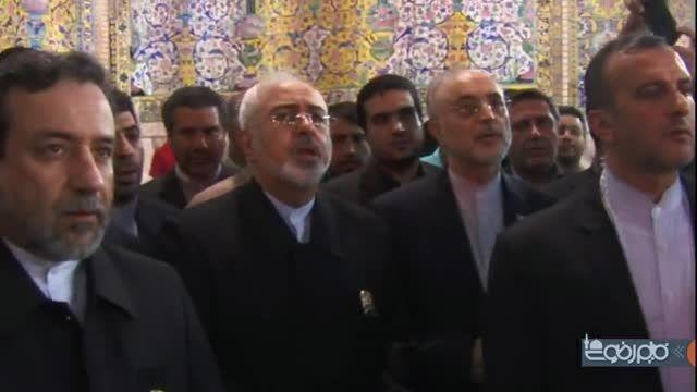 دکتر ظریف در حرم مطهر امام رضا(ع) پس از مذاکرات هسته ای