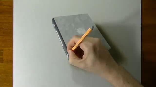نقاشی شگفت انگیز 3 بعدی از کتاب