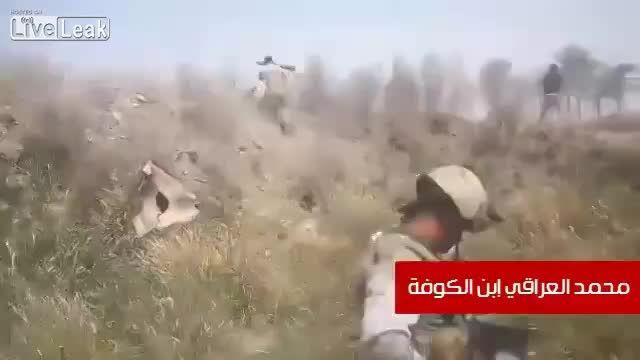 هجوم پر آتش جوانان شیعه بر داعش - توقف لودر انتحاری