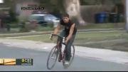 فرار احمقانه مجرم با دوچرخه......