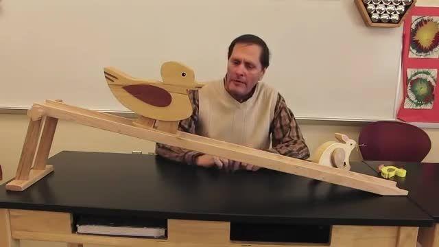 حرکت اجسام چوبی جالب،با کمک شیب (قوانین فیزیک)