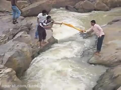 ACCIDENT-RESCUING FROM WATERFALL