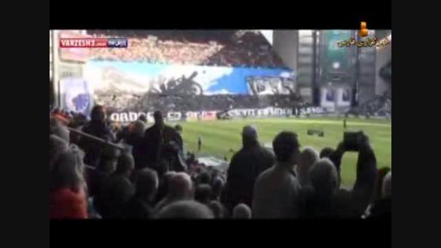 حرکت جالب تماشاگران دانمارکی در استادیوم