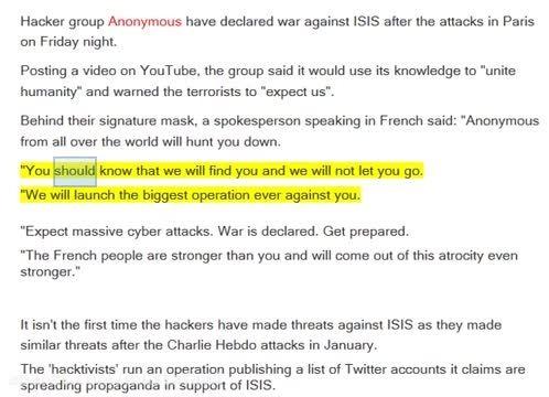 اعلان جنگ گروه Anonymous علیه داعش