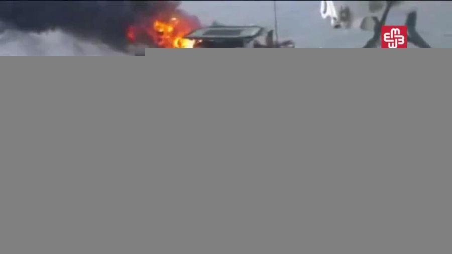 آتش سوزی در دکل نفتی آذربایجان در دریای خزر