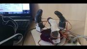 ربات دست سه انگشته با قابلیت کنترل با سیستم هپتیک و pc