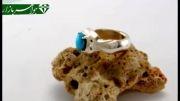 انگشتر الماس فیروزه نیشابور پررنگ - کد 3695