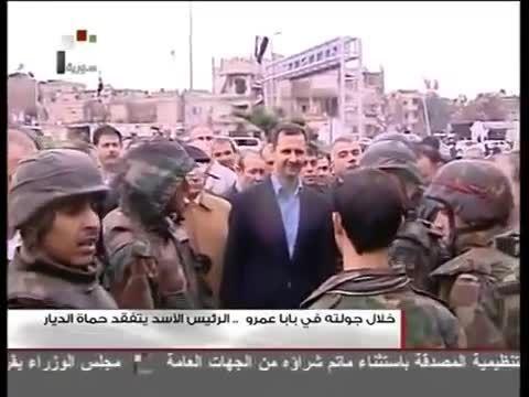 بازدید رئیس جمهور بشار اسد از شهر بابا عمرو استان حمص