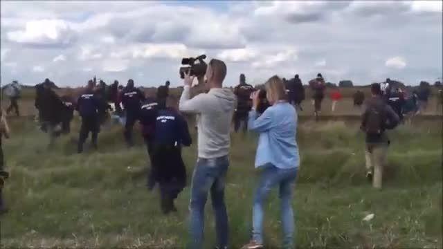 زیر پایی زدن خبرنگار غربی به پناهنده آواره بیچاره?!