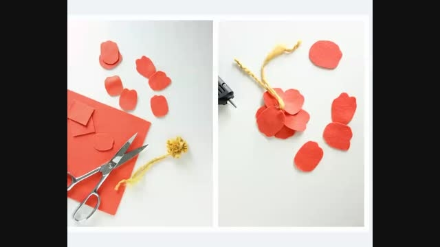 آموزش ساخت پرچم کاموایی گلهای نمدی