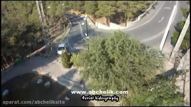 هلی شات هلی کم تصویربرداری هوایی در جاده جنگلی