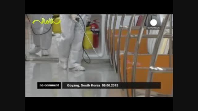 ضدعفونی کردن واگنهای مترو در کره جنوبی