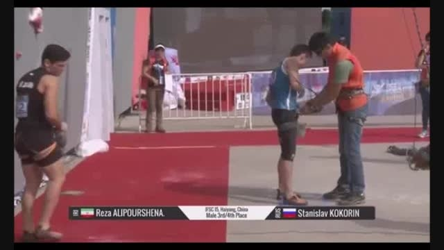 کسب مدال برنز سنگنوردی جهان رضاعلیپور قهرمان سرعت ایران