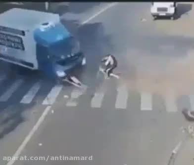 خوش شانسی محض در حادثه وحشتناک!