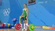 حادثه برای وزنه بردار در مسابقات وزنه برداری المپیک....