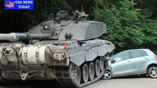 تصادف تانک با تویوتای دختر 18 ساله آلمانی