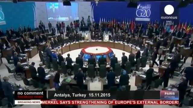 یک دقیقه سکوت در کنفرانس 20 در آنتالیا برای حوادث پاریس