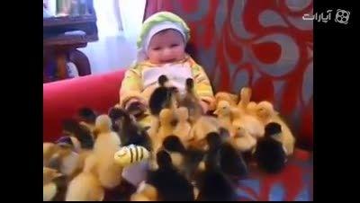 خیلی باحال خخخخخخخخ بچه کنار دهها جوجه اردک خیلی باحال!