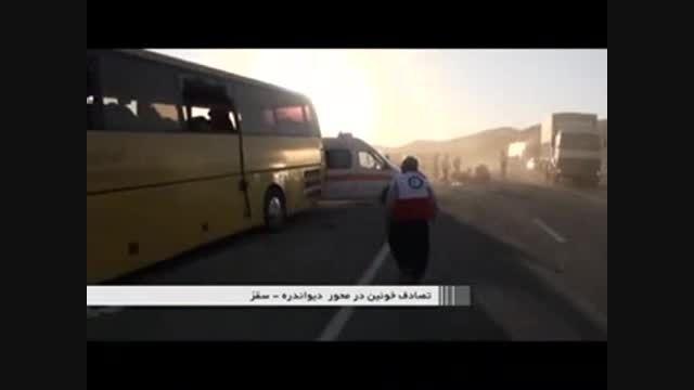 تصادف خونین اتوبوس با کامیون