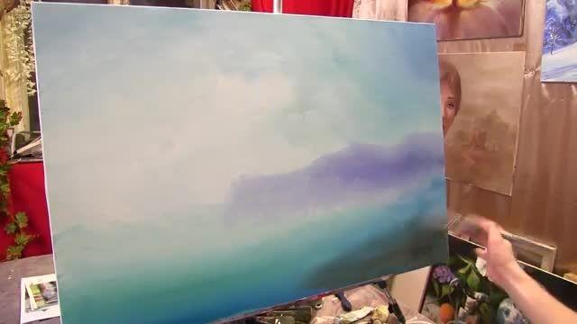 نقاشی قایق بادبانی در خلیج با رنگ روغن