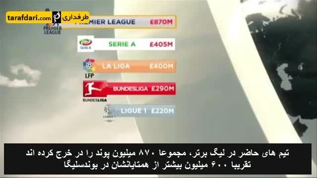 نگاهی به هزینه های 5 لیگ برتر اروپا در نقل و انتقالات