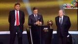 مراسم اهدای توپ طلا به مسی و واکنش های عجیب رونالدو