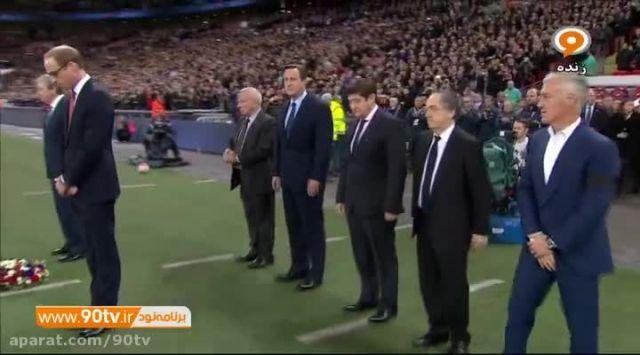 گرامیداشت قربانیان پاریس در ابتدای بازی انگلیس و فرانسه