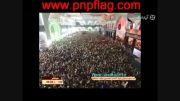 تصاویری شگفت انگیز از لحظه تعویض پرچم گنبد امام حسین(ع)