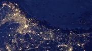 نمای سیاره زمین در شب از فضا