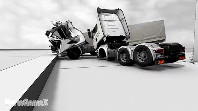 تیکه تیکه شدن کامیون در بازیه Euro Truck Simulator 23