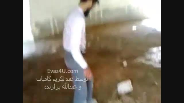 آب انباری در شهر اوز فارس بعد از بارش تگرگ