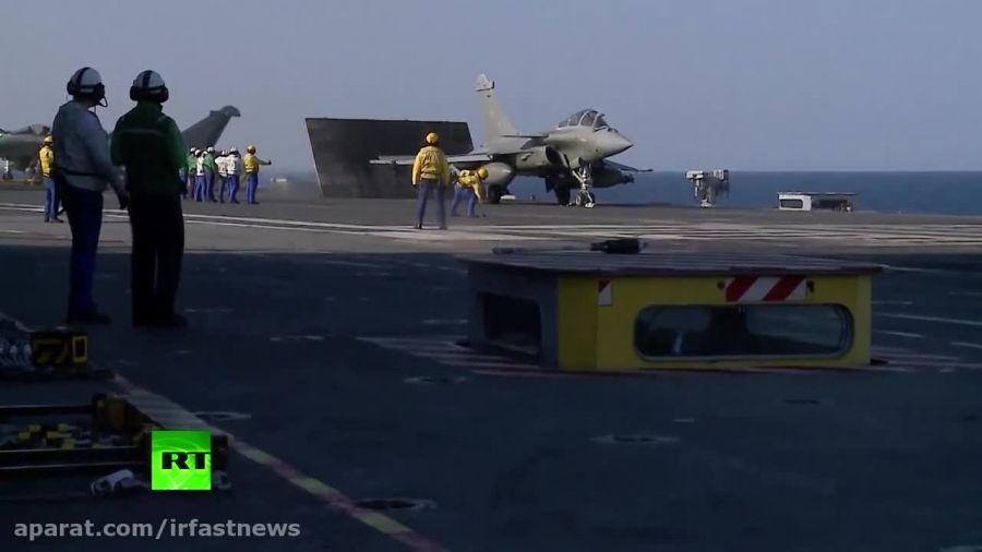 ویدیو حمله هواپیماهای جنگی فرانسه به داعش