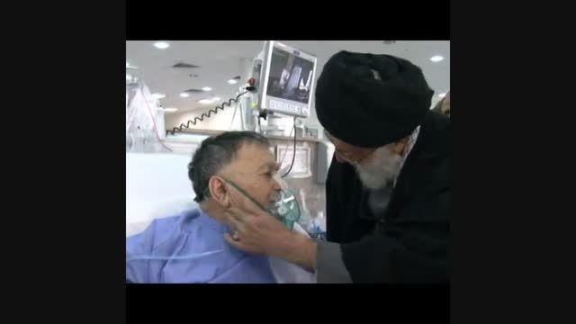 عیادت رهبر انقلاب از پدر شهید