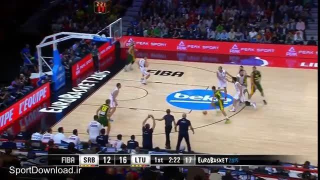 هایلایت مسابقه بسکتبال صربستان-لیتوانی نیمه نهایی یورو