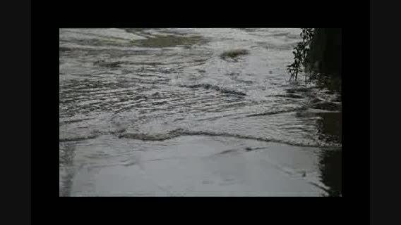 بارش شدید باران و آب گرفتگی خیابان در بجنورد