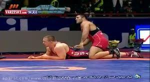 کشتی رضا یزدانی با قهرمان المپیک